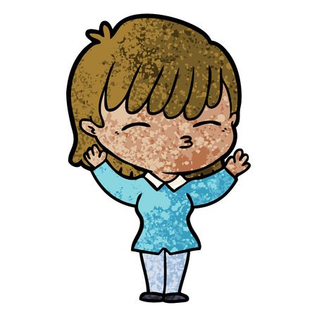 Cartoon woman wearing blue blouse 일러스트