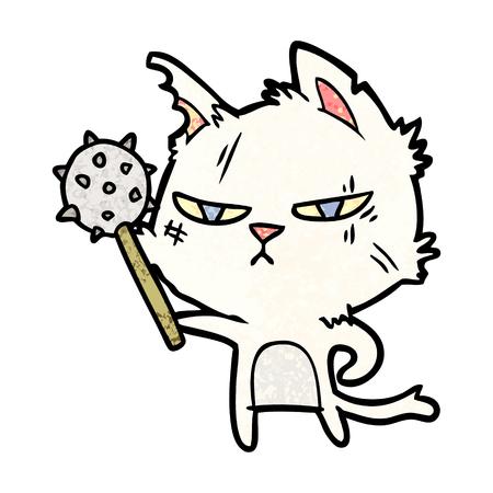 tough cartoon cat with mace Vector illustration.