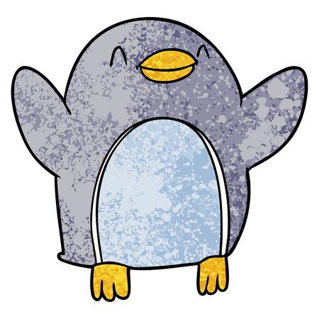 cartoon penguin jumping for joy Vector illustration.