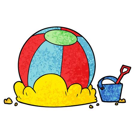 cartoon beach ball and bucket Vector illustration. Stock Illustratie