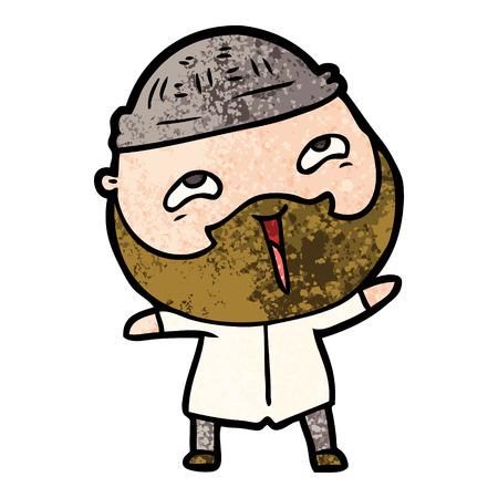 cartoon happy bearded man Vector illustration.
