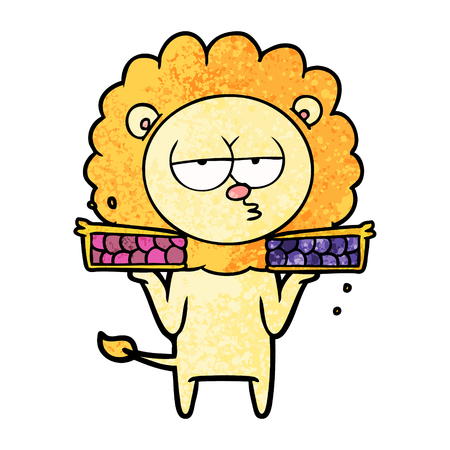 Cartoon bored lion with pies Illustration