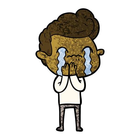 cartoon man crying Vector illustration. Illustration