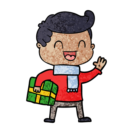 Cartoon laughing man holding gift