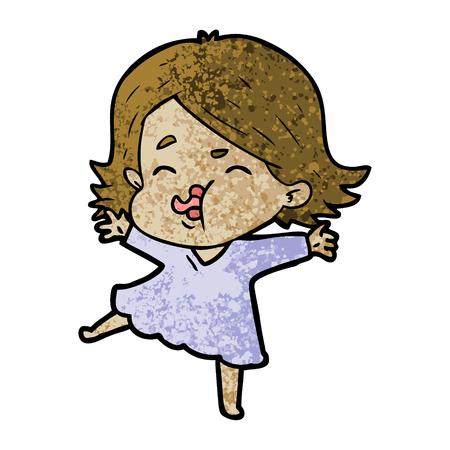 cartoon girl pulling face Vector illustration.