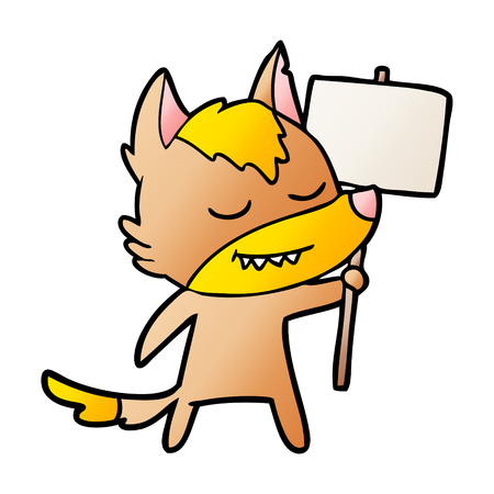 fox cartoon character with protest sign Vector illustration.