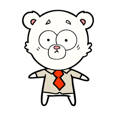 polar bear in shirt and tie cartoon Vector illustration. Foto de archivo - 96639847