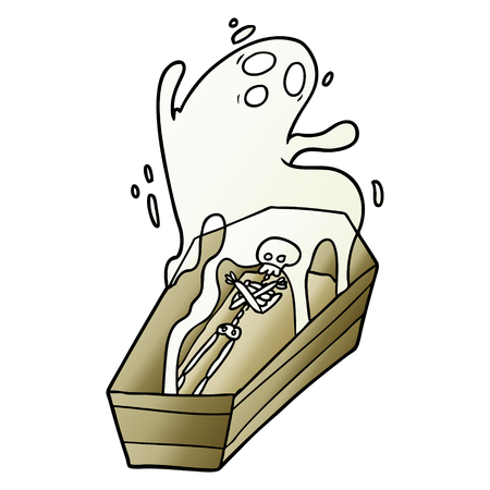 cartoon ghost and coffin Vector illustration. 向量圖像