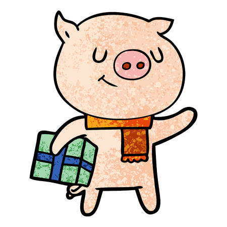 happy cartoon pig with christmas present Illustration