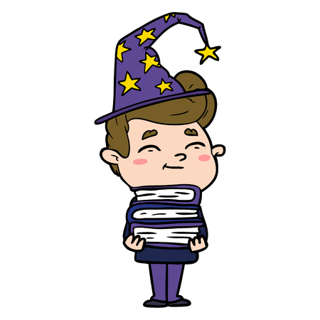 happy cartoon wizard with stack of new books Illustration