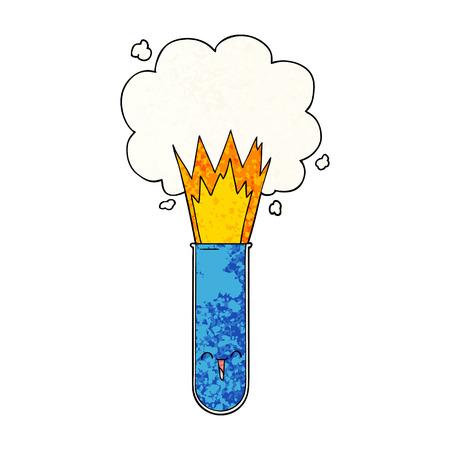 cartoon exploding chemicals in test tube Ilustração