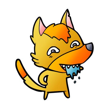 hungry fox cartoon character Illustration