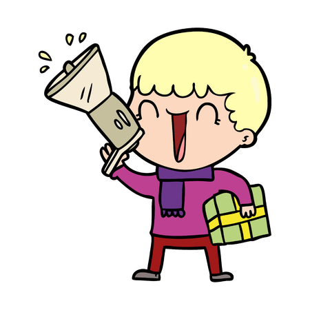 Man with megaphone and holding a present Illustration
