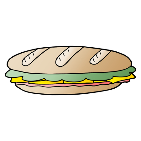 cartoon baguette sandwich Foto de archivo - 96618393