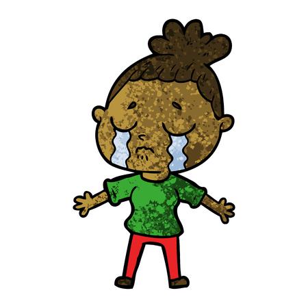 cartoon crying woman Vectores