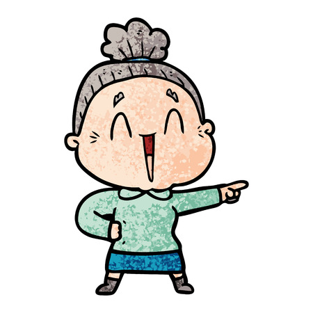cartoon happy old lady