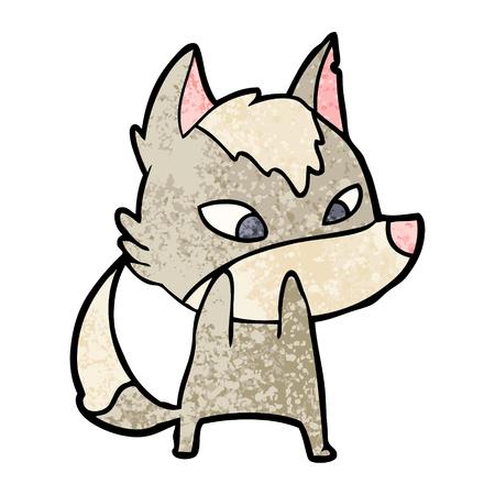 shy cartoon wolf