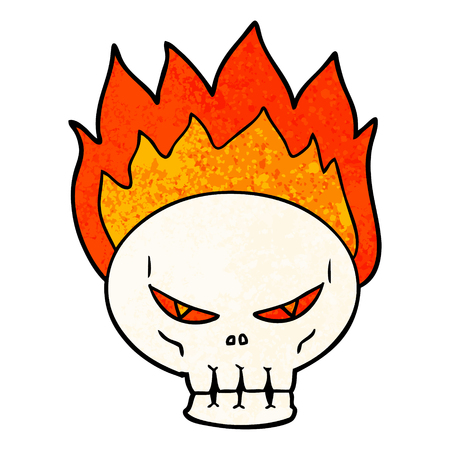 cartoon flaming skull Çizim