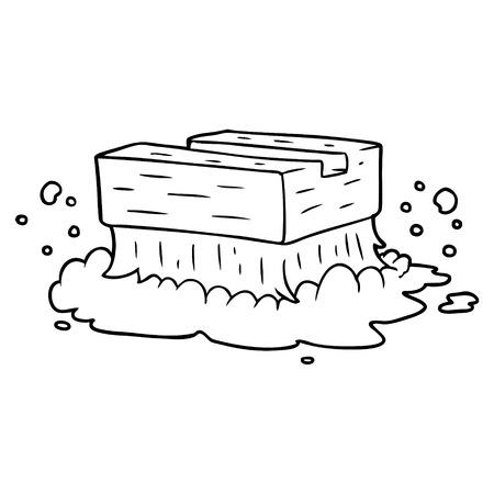 cartoon scrubbing brush