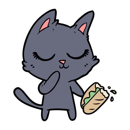 calm cartoon cat considering sharing a baguette