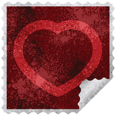 heart symbol graphic square sticker stamp Ilustrace