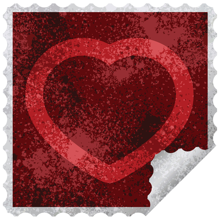 heart symbol graphic square sticker stamp Illustration