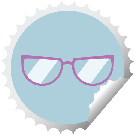 spectacles graphic vector illustration round sticker stamp