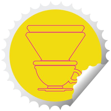 coffee filter cup circular peeling sticker