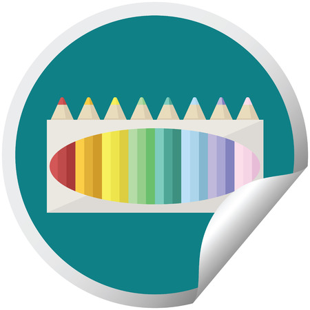 pack of coloring pencils graphic vector illustration circular sticker Banque d'images - 110127517