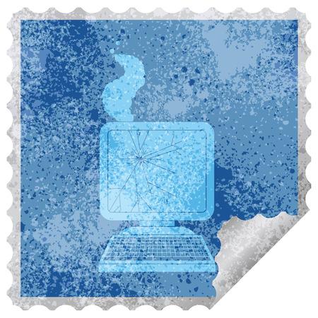 broken computer graphic square peeling sticker