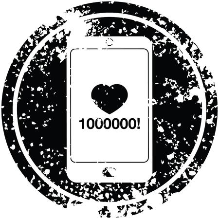 mobile phone showing 1000000 likes circular distressed symbol Illustration