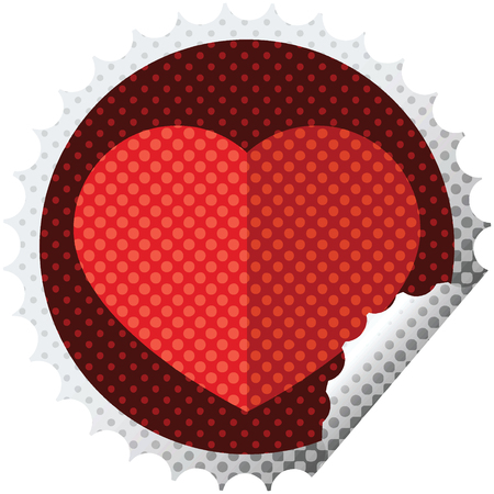 heart symbol graphic vector illustration round sticker stamp