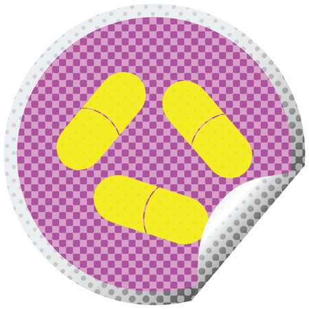 pills vector illustration circular peeling sticker