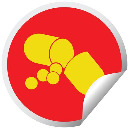 Capsule pill vector illustration circular peeling sticker Çizim