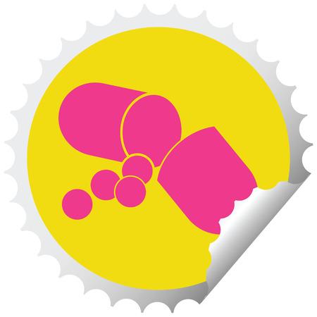 Capsule pill vector illustration circular peeling sticker Ilustração