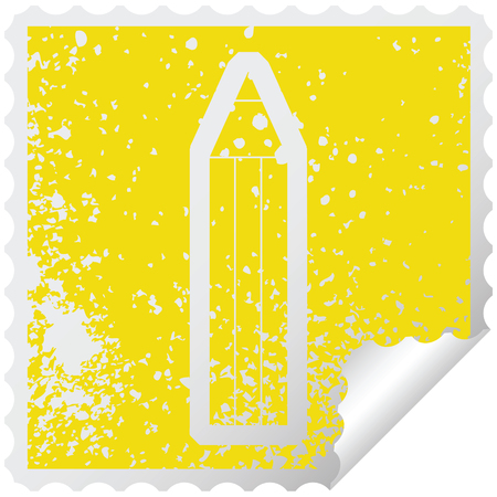 distressed sticker icon illustration of a pencil 向量圖像