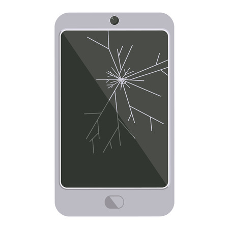 cracked screen cell phone graphic vector illustration icon