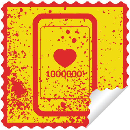 mobile phone showing 1000000 likes graphic distressed sticker illustration icon Illustration