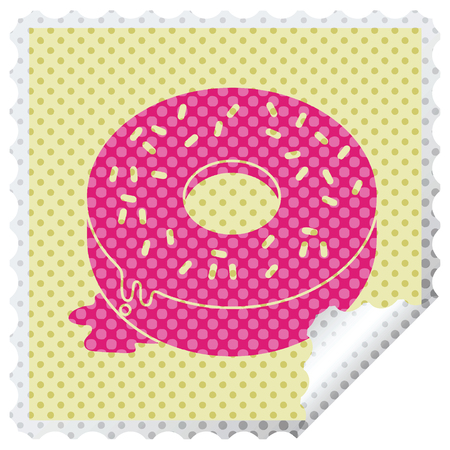 illustration of a tasty iced donut square peeling sticker