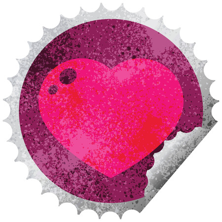 heart peeling sticker graphic vector illustration circular peeling sticker