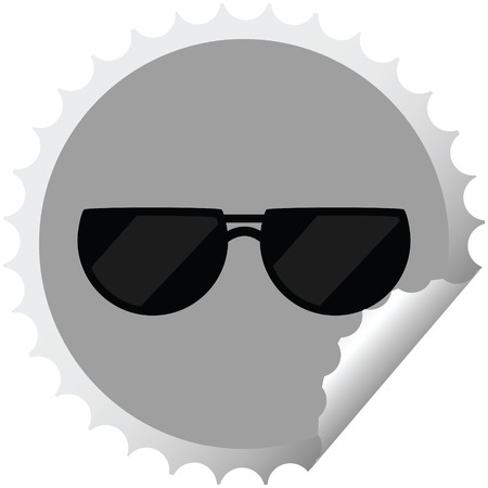 sunglasses graphic vector illustration round sticker stamp