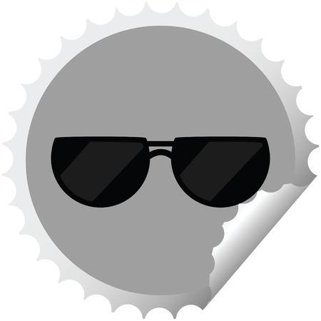 sunglasses graphic vector illustration round sticker stamp