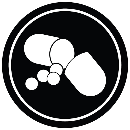 Capsule pill vector illustration circular symbol Ilustração