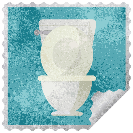 open toilet graphic square sticker stamp Stock Vector - 110129365