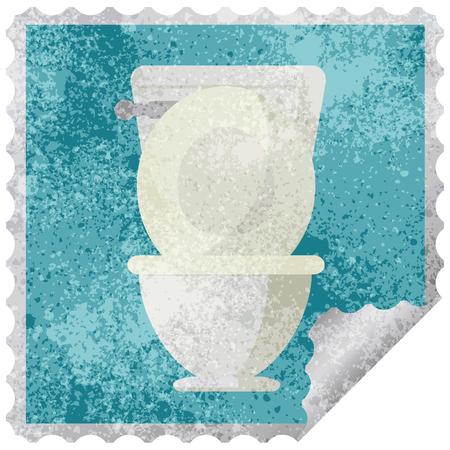 open toilet graphic square sticker stamp
