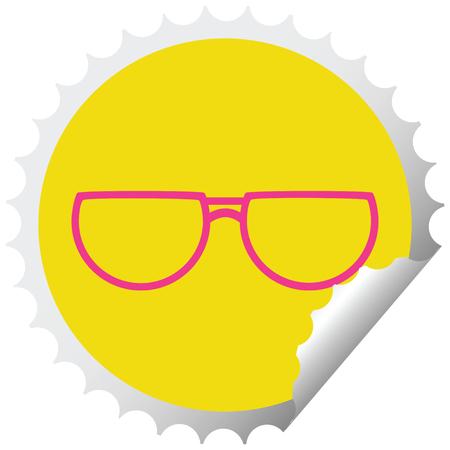 spectacles graphic vector illustration circular peeling sticker Illustration