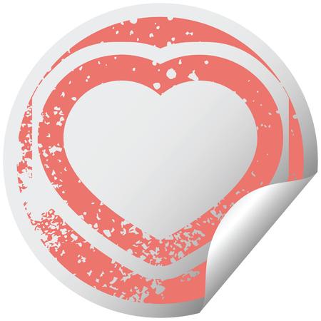 heart symbol graphic distressed sticker illustration icon