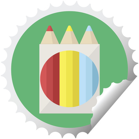 pack of coloring pencils graphic vector illustration round sticker stamp