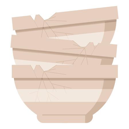 Pila de cuencos viejos agrietados icono gráfico de ilustración vectorial