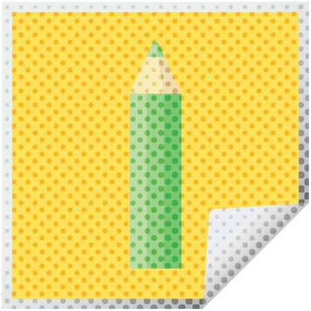 green coloring pencil graphic vector illustration square sticker